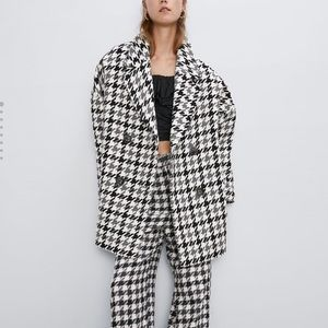 Zara Oversized Houndstooth Coat Billie Eilish XS/S